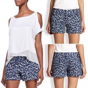 Alice + Olivia Cady Cuff Shorts Leopard Denim